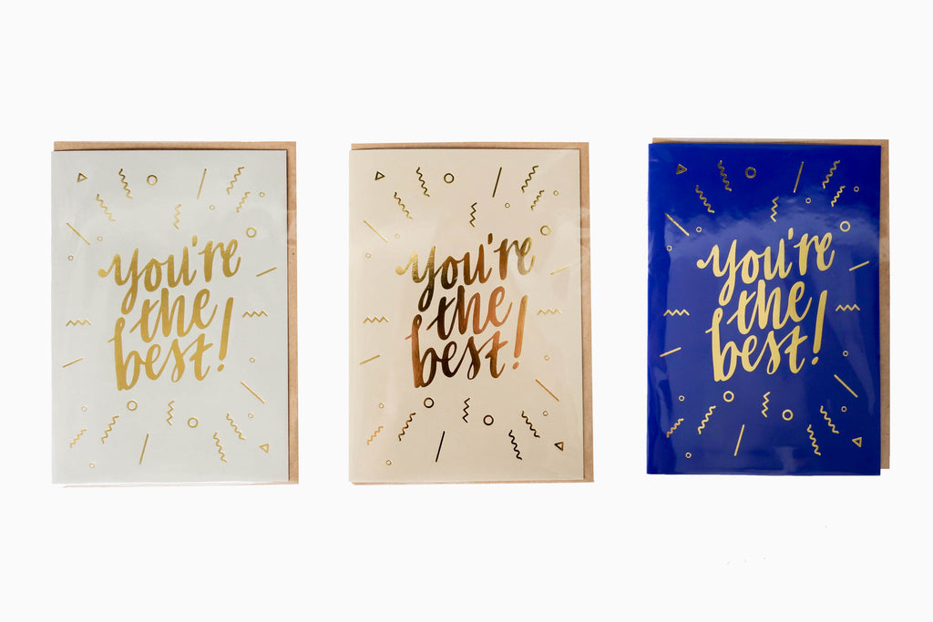 You're the best greeting card front design in 3 colours (Grey, sand and blue)