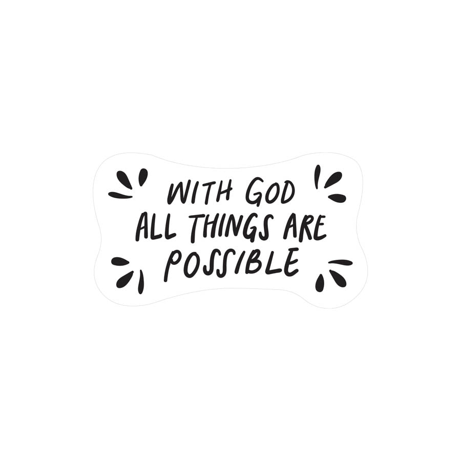 With God all things are possible Luke 1:37 Christian Bible Verse Transparent reusable Vinyl Decal for mirrors, car windows