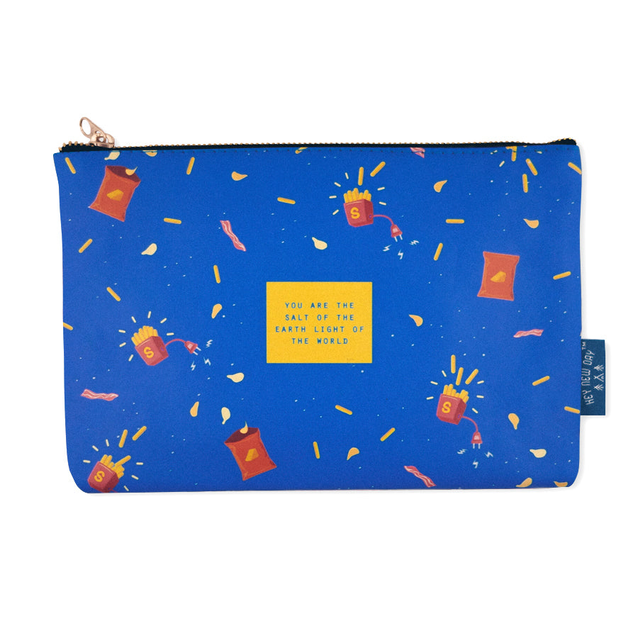 Multipurpose PU Leather pouch in blue with fries designs on it. Features bible verse 'You are the salt of the earth, you are the light of the world ' in blue lettering and is great Christian gift idea. The pouch has inner lining, gold zip. Dimensions: 21cm (W) x 14cm (H)