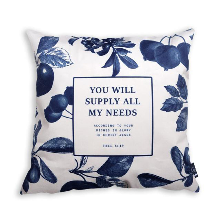 You will supply all my needs cushion cover with navy blue fruits details.