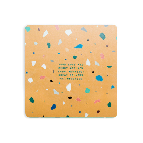Your love and mercy are new every morning great is your faithfulness yellow terrazzo bible verse coasters