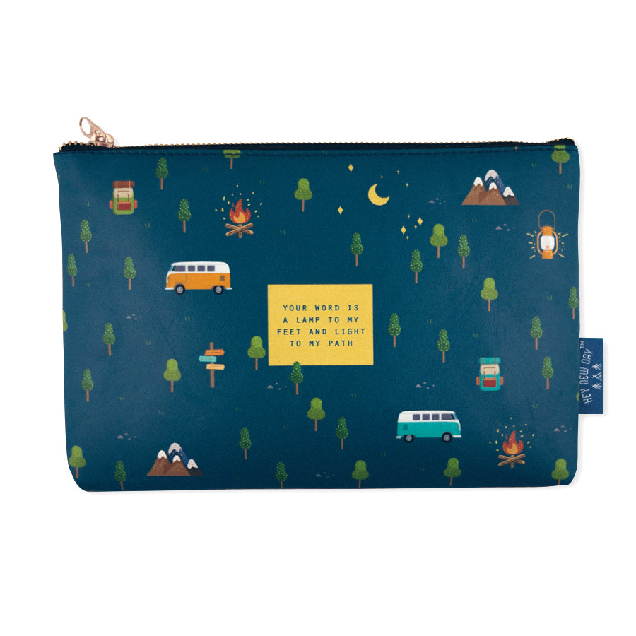 Multipurpose PU Leather pouch in blue painting with campfire camping designs on it. Features bible verse 'Your word is a lamp to my feet and light to my path ' in blue lettering and is great Christian gift idea. The pouch has inner lining, gold zip. Dimensions: 21cm (W) x 14cm (H)