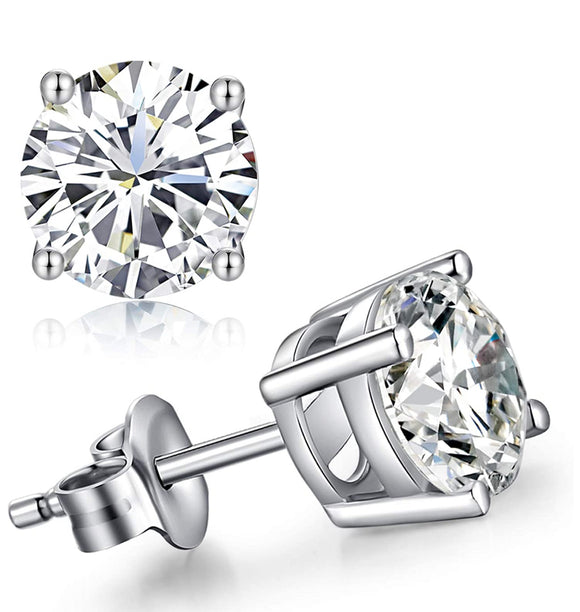 2.00ct total weight round brilliant cut diamond earrings
