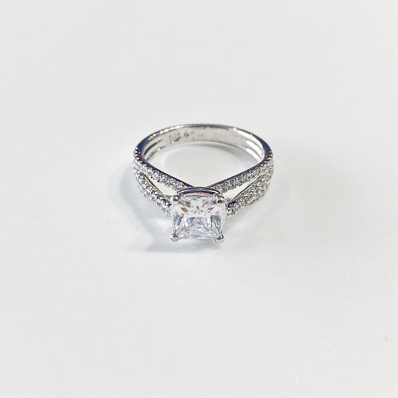 Princess Cut Ring w/ Round Cut Stones