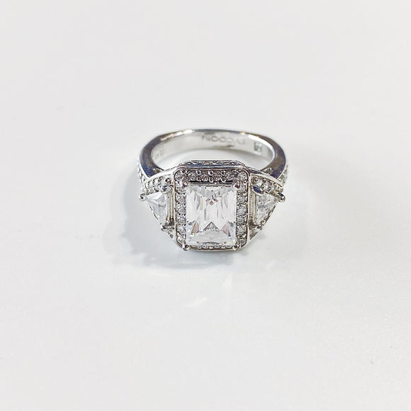 Emerald Cut Ring w/ Triangle & Round Cut Stones