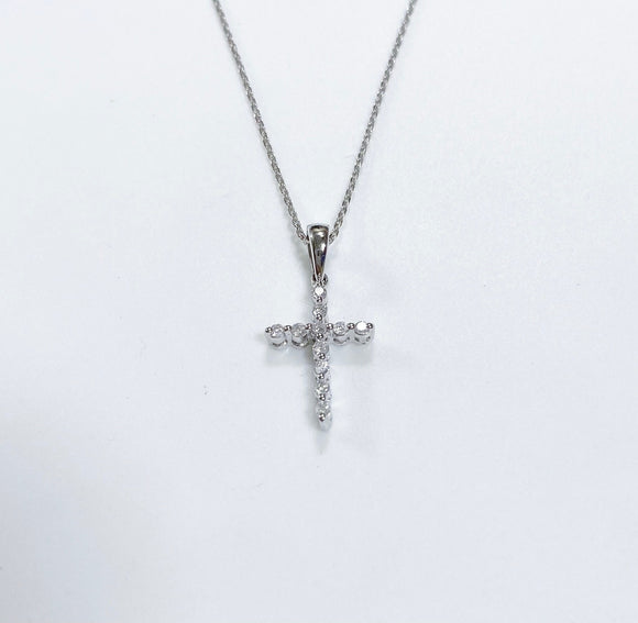 0.15ct Total Weight Diamond Cross Pendant