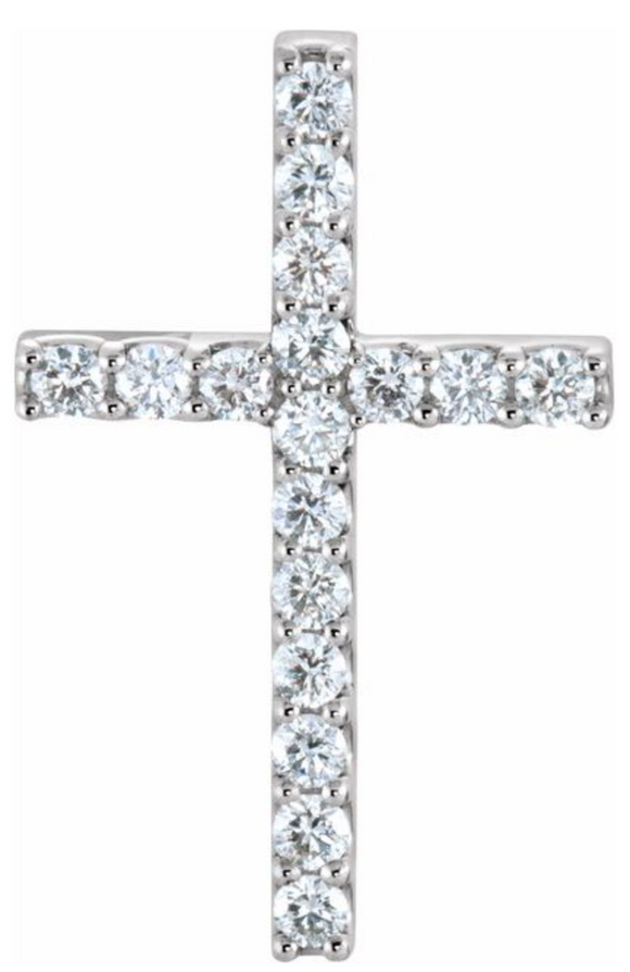 1ct total weight diamond cross pendant