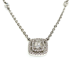 Lab grown emerald cut stone with halo pendant and sterling silver chain
