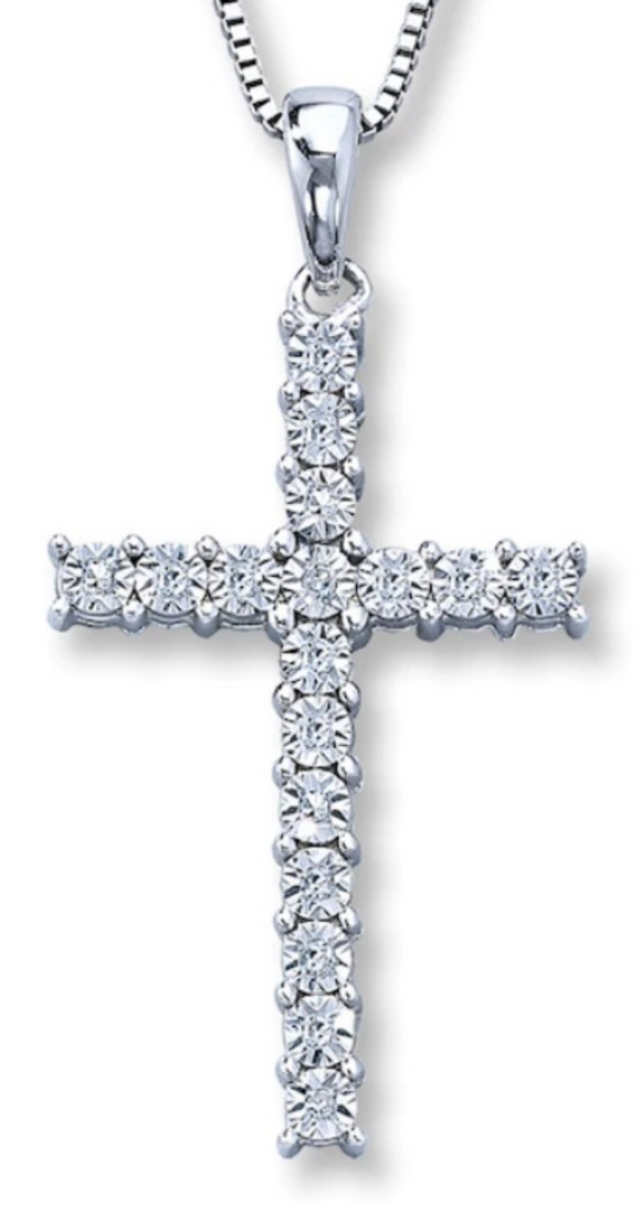 1/4ct total weight diamond cross pendant