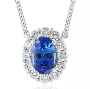 2ct oval Sapphire and diamond pendant