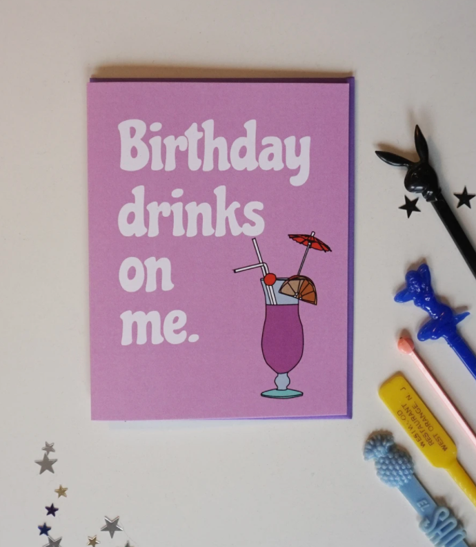 Ash & Chess: Birthday Drinks on me Card