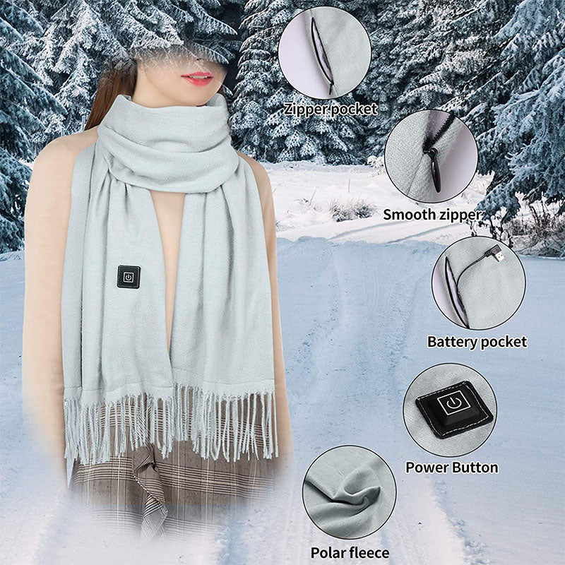 USB Rechargeable Cashmere Three-Level Intelligent Temperature Control Heating Scarf for Men and Women