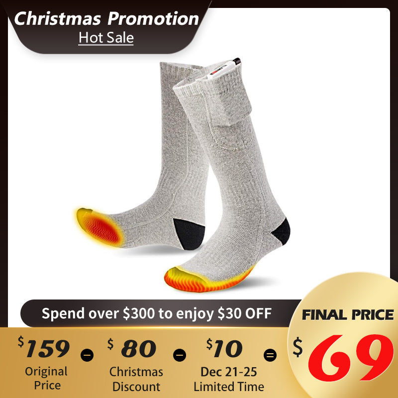 3 Temperature Adjustable Electric Rechargeable Heated Socks(With Power Bank)