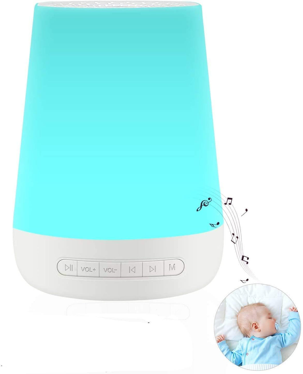 Smarter Life White Noise Machine with Night Light (28 None-Looping Sounds)