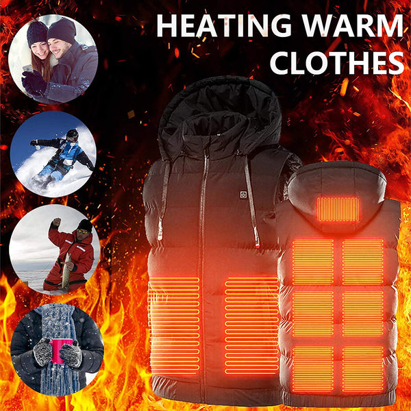 9 Heating Zones Rechargeable Heated Hooded Vest
