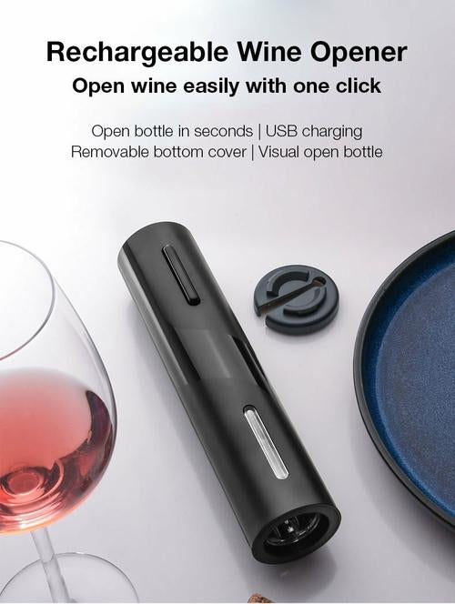 4 in 1 Chargeable Electric Wine Opener Set with Wine Foil Cutter, Wine Vacuum Stopper, Aerator Pourer
