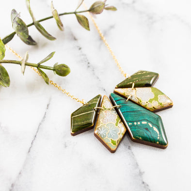 Japanese Geometric Petal Necklace... Turquoise + Green