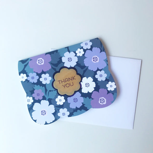 Purple Poppies Thank You Card
