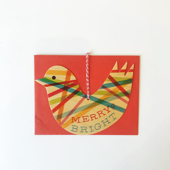 Merry & Bright Dove Wood Ornament Holiday Card