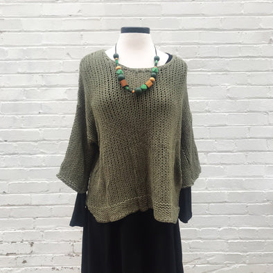 Cozy Olive 3/4 Sleeve Sweater