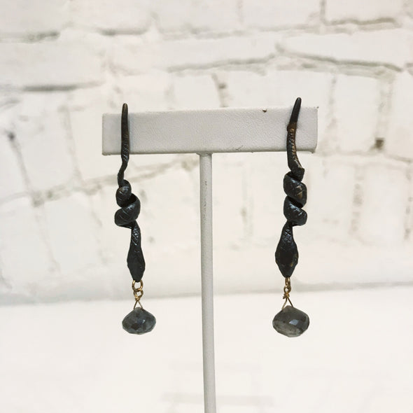 Oxidized Brass Snake with Labradorite Earring