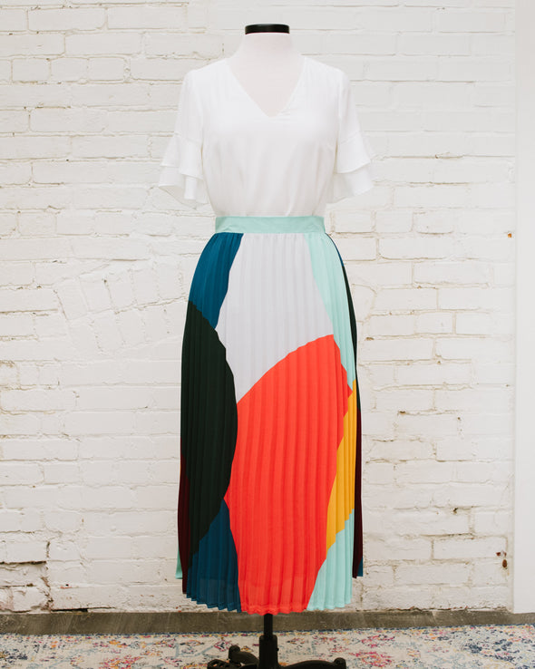 Color Block Pleated Midi Skirt