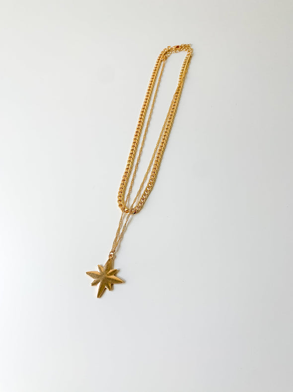 Double Chain Starburst Pendant