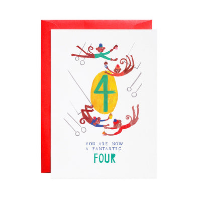Four Mischievous Monkeys - 4th Birthday Greeting Card