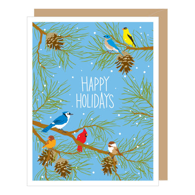 Holiday Winter Birds Greeted Card Set of 10