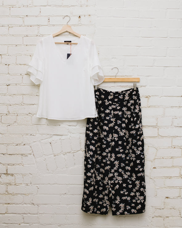 High Waisted Floral Cropped Pant