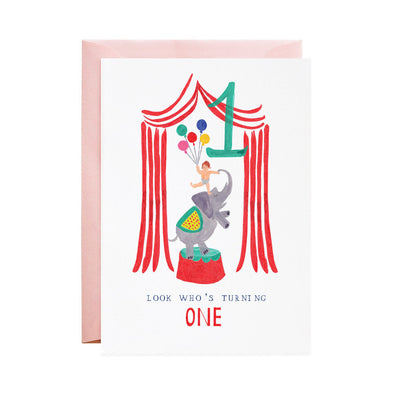 One Ellie Elephant - 1st Birthday Greeting Card