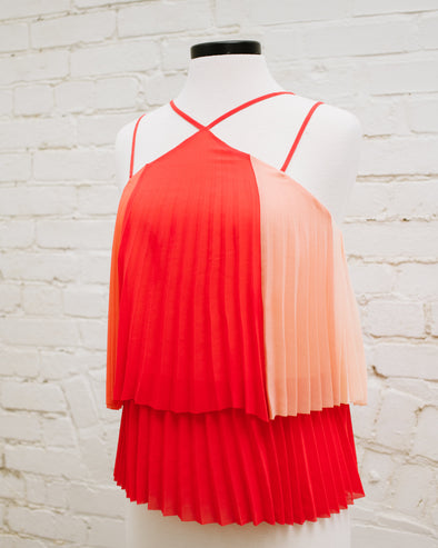 Pink Ombre Pleated Disco Tank