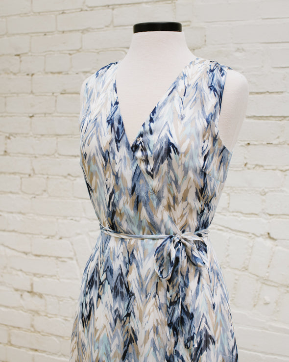 Ruffled Blue Wrap Dress
