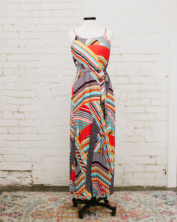 Summer Stripes Pleated Maxi Dress