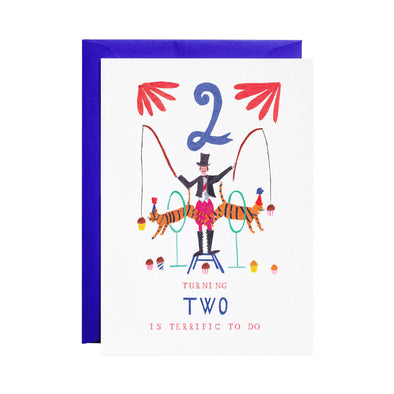 Two Tiger Tricks - 2nd Birthday Greeting Card