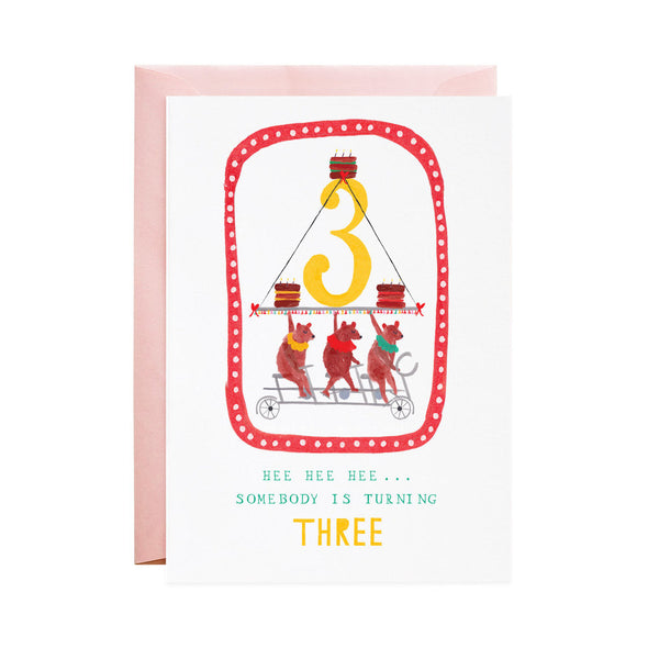 Three Cycling Bears - 3rd Birthday Greeting Card