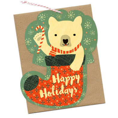 Bear Stocking Wood Ornament Holiday Card
