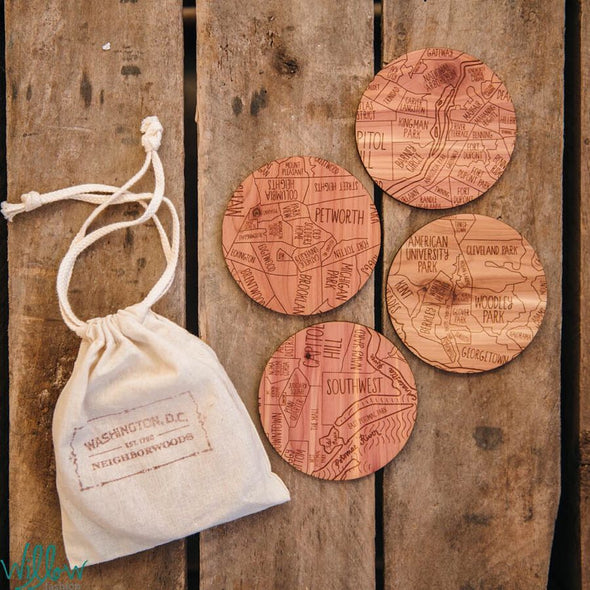 Washington DC Wooden Drink Coasters