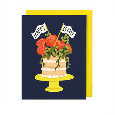 Florals and Cake Birthday Card