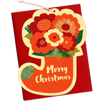 Flower Stocking Wood Ornament Holiday Card