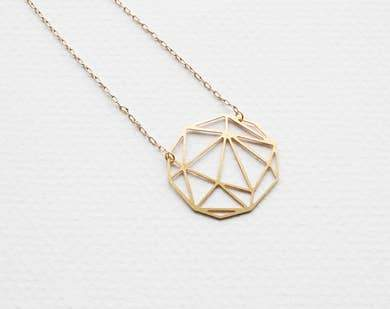Faceted Geometric Sphere Necklace