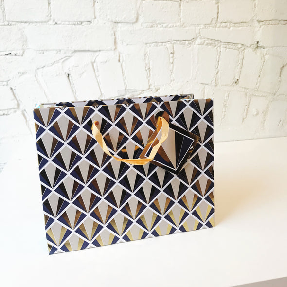Matte Geometric Gift Bags with Foil