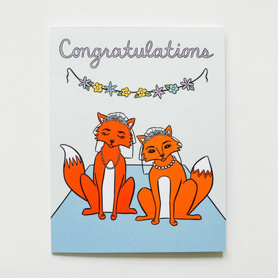 Lady Foxes Wedding Card