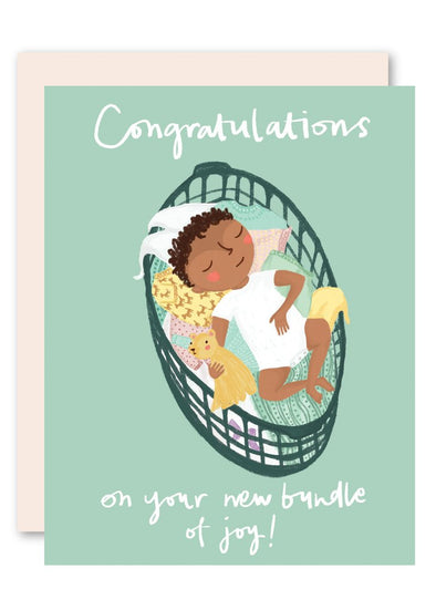 Basket Baby Congratulations Card