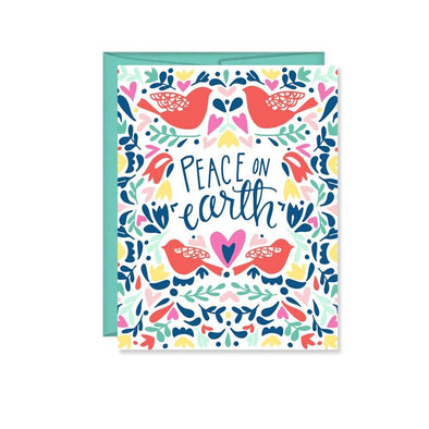 Peace On Earth Red Birds Holiday Card