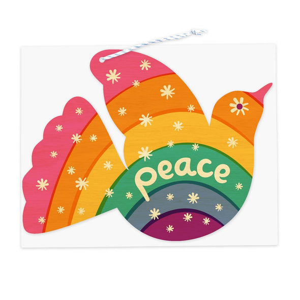 Rainbow Dove Wood Ornament Holiday Card