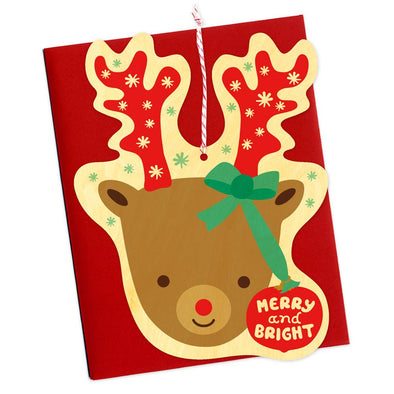 Bright Reindeer Wood Ornament Holiday Card