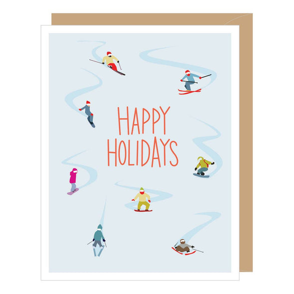 Holiday Skiers Greeting Card