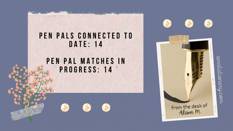 Graphic: Pen pal matches made to date: 14, Pen pal matches in progress: 14