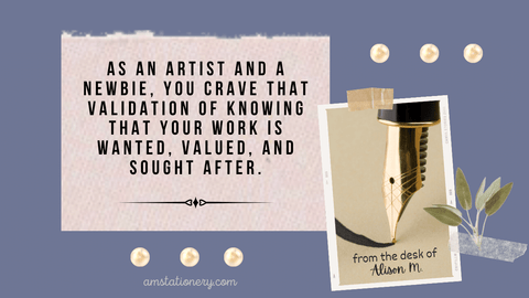 Graphic with quote from text: As an artist and a newbie...